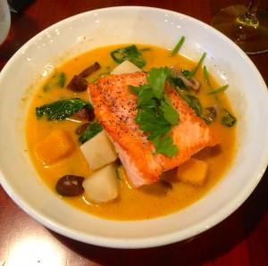My dish of pan seared salmon.