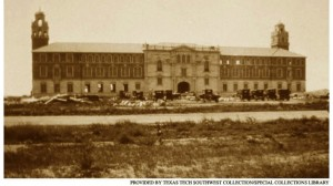 The first picture of the Tech administration building. Picture courtesy of Texas Tech Southwest Collection.