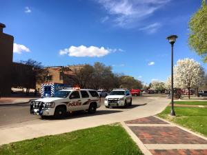 Texas Tech police and the Lubbock Fire Department at the Chemistry building following the minor explosion on March 10. Amanda Castro-Crist/The Hub@TTU
