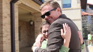 Ben Sharp hugs campaign manager, Gracen Daniel, after an emotional win. Sarah Self-Walbrick/The Hub@TTU