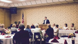Arrington speaking to an audience at the Howard County GOP Club in Big Spring, Texas. Photo provided by Arrington's Facebook.