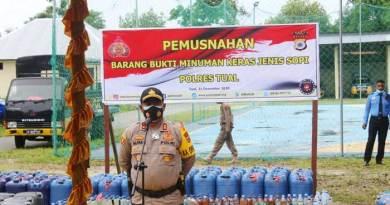 Pemusnahan miras sopi 89 ton Polres Tual 1