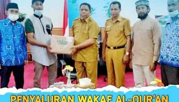 Walikota Tual, Adam Rahayaan,didampingi Wakil Walikota Tual, Usman Tamnge bersama Sekretaris Daerah ( Sekda ) Kota Tual, A. Yani Renuat, diruang Kerja Walikota Tual, Senin (17/5/2021), menerima 3.000 Muhaf Al – Qur'an dari Badan Wakaf Al-Qur'an (BWA), melalui Forum Tokoh dan Umat Islam Kei ( FROM KEI ) dan Pemuda Hijrah Kei