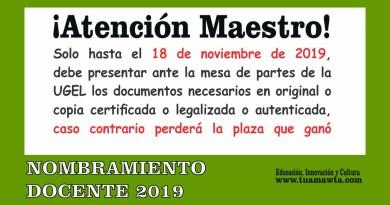 Nombramiento Docente 2019: Documentos a presentar ante en la UGEL  para emisión de Resoluciones