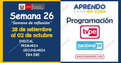 Aprendo en Casa: Programación TV + Radio – Semana 26 [28 setiembre al 02 octubre]