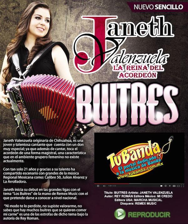 """Janeth Valenzuela presenta el sencillo """"Buitres"""""""