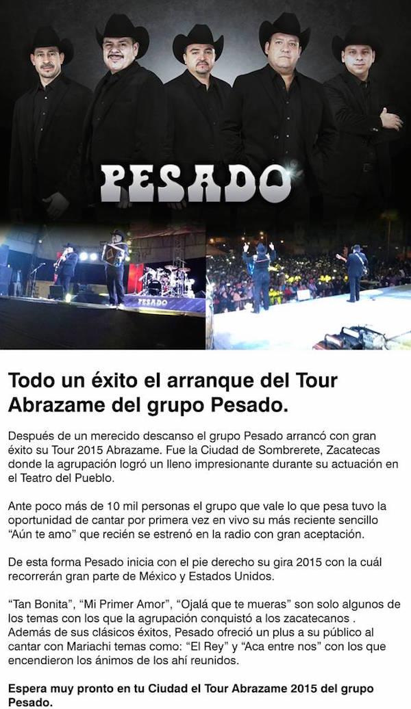"""Grupo Pesado inicia con éxito su Tour 2015 """"Abrazame"""""""
