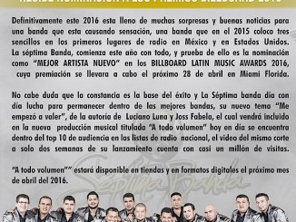 La Séptima Banda nominada el Billboard