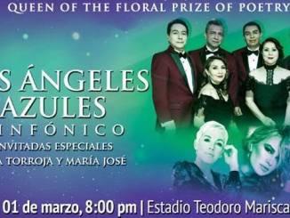 1 de marzo de 2019, Los Ángeles Azules llenarán de cumbia sinfónica el estadio Teodoro Mariscal, acompañados de María José y Ana Torroja, durante la coronación de la Reina de los Juegos Florales del Carnaval de Mazatlán 2019.