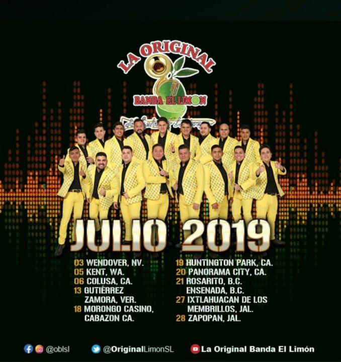 Agenda de eventos de La Original Banda El Limón en Julio 2019