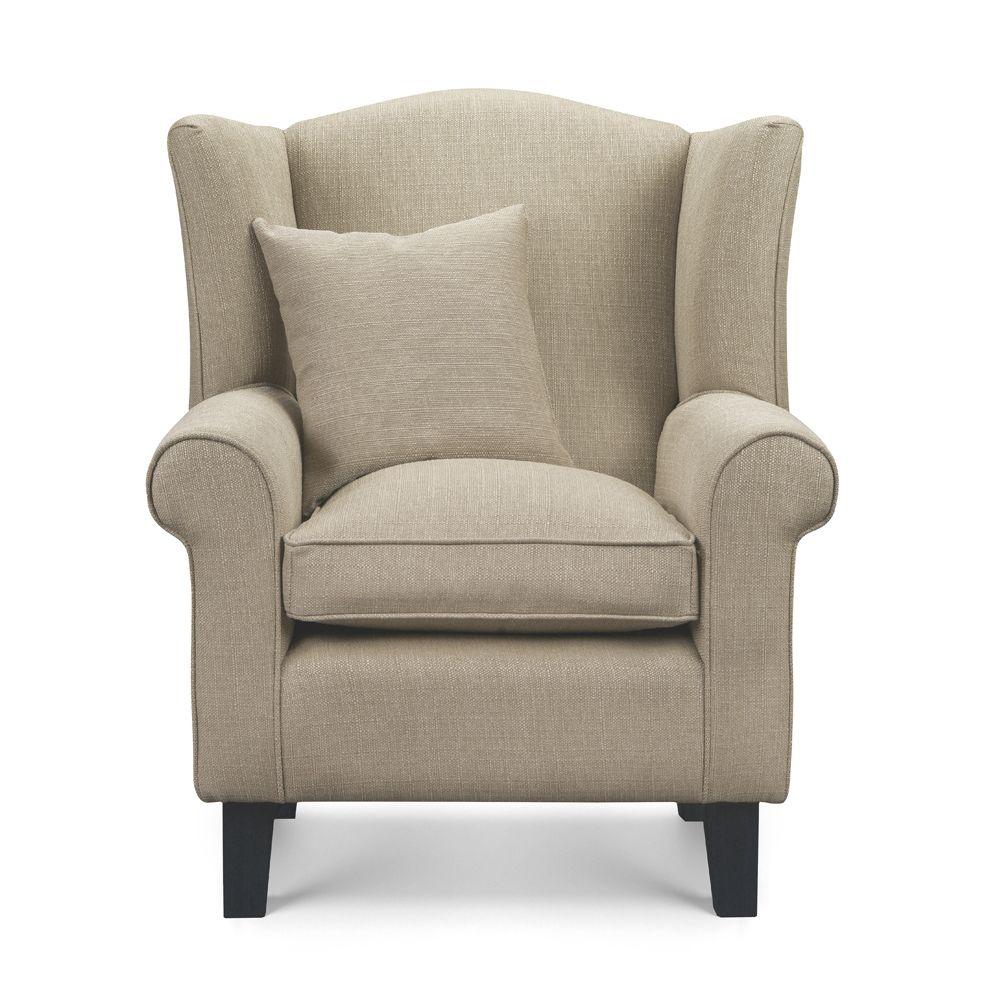 Beige Fabric Wingback Chair Sloane Sons