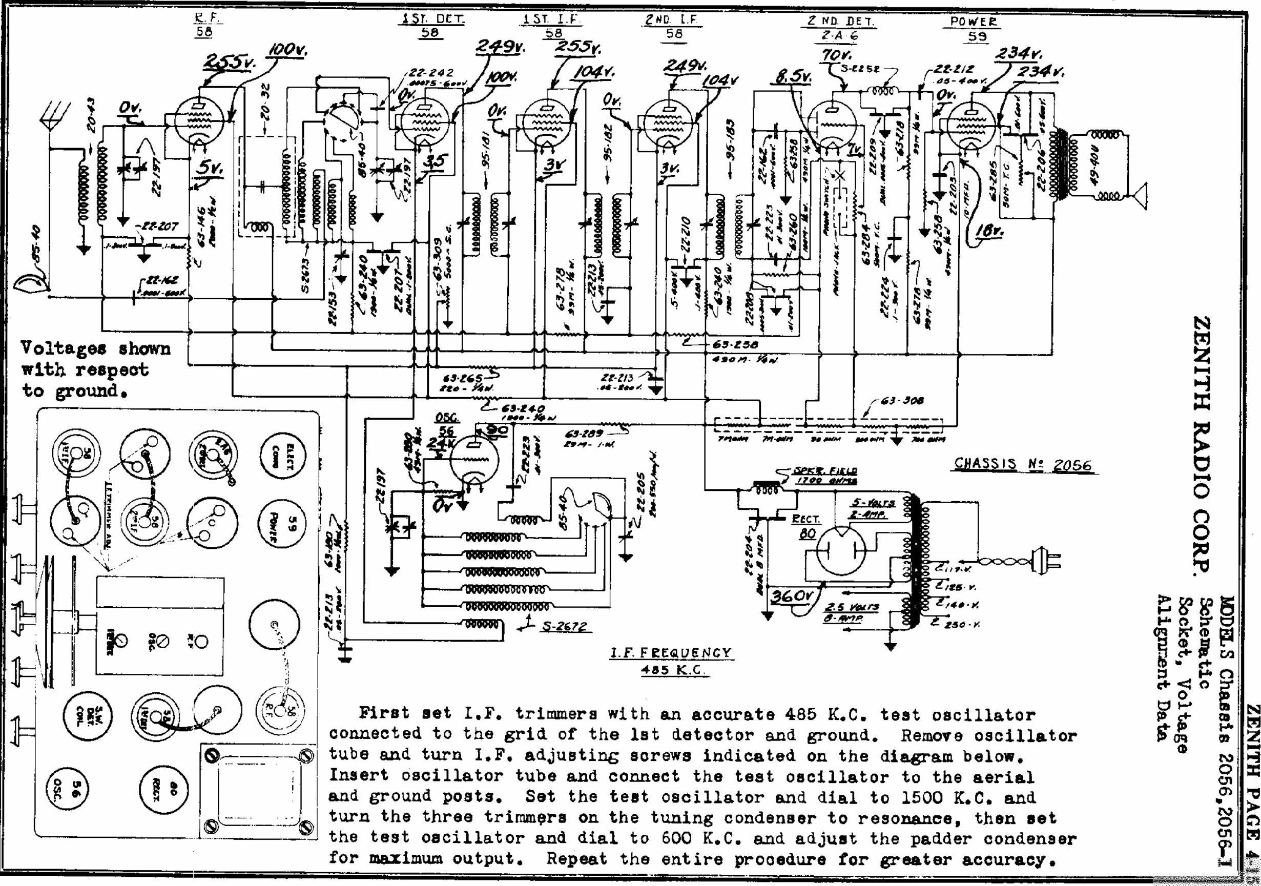 Zenith Model 288 Art Deco Tombstone Tube Radio