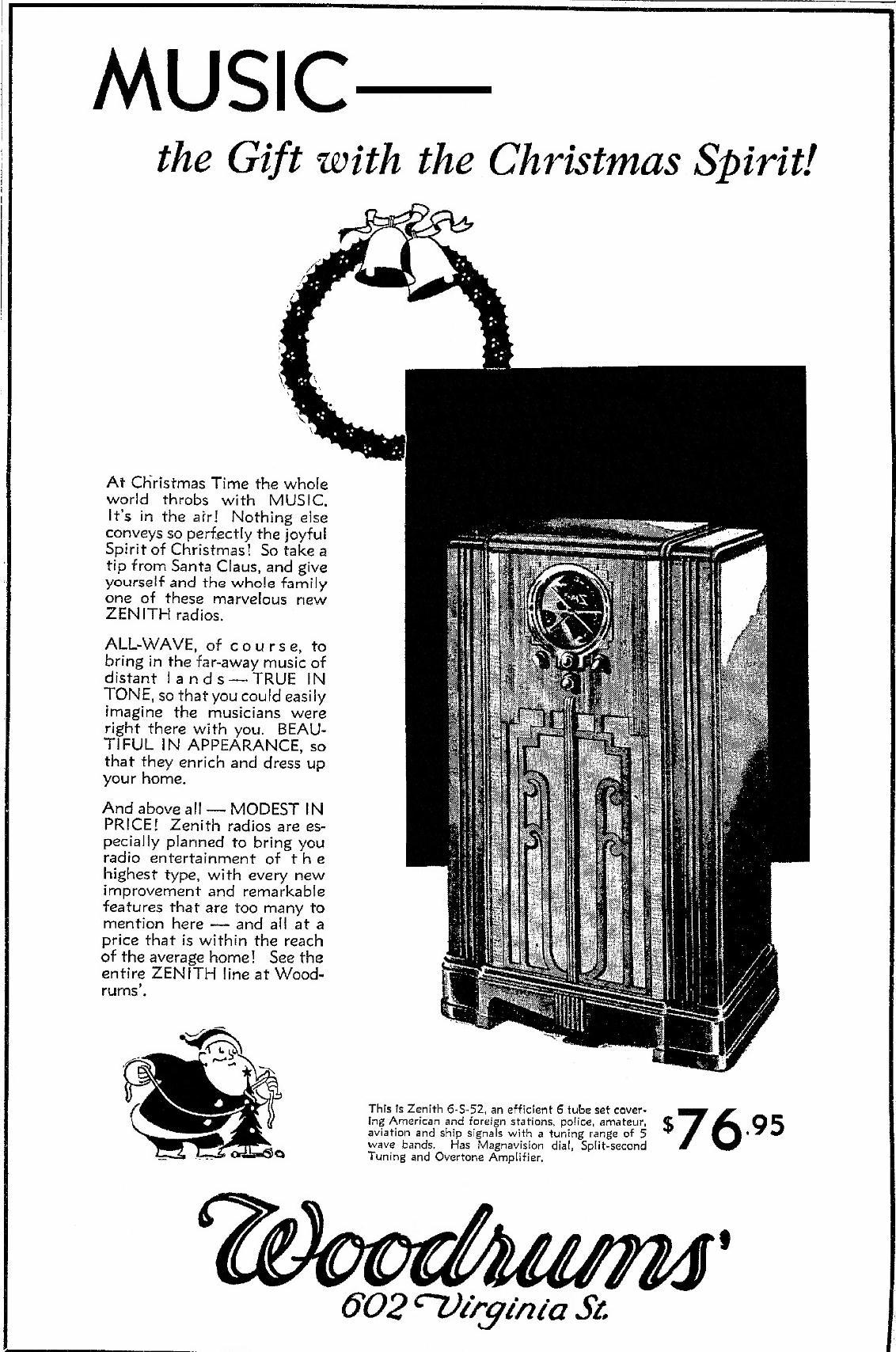 Zenith Model 6 S 52 Black Dial Console Radio