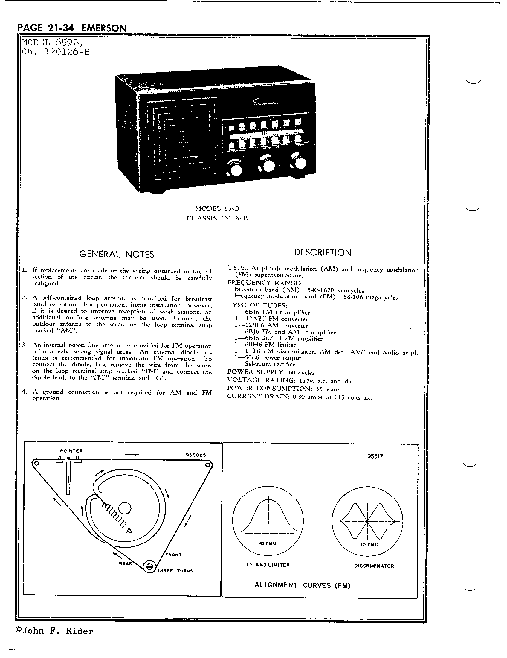 Emerson Radio Amp Phonograph Corp 659b