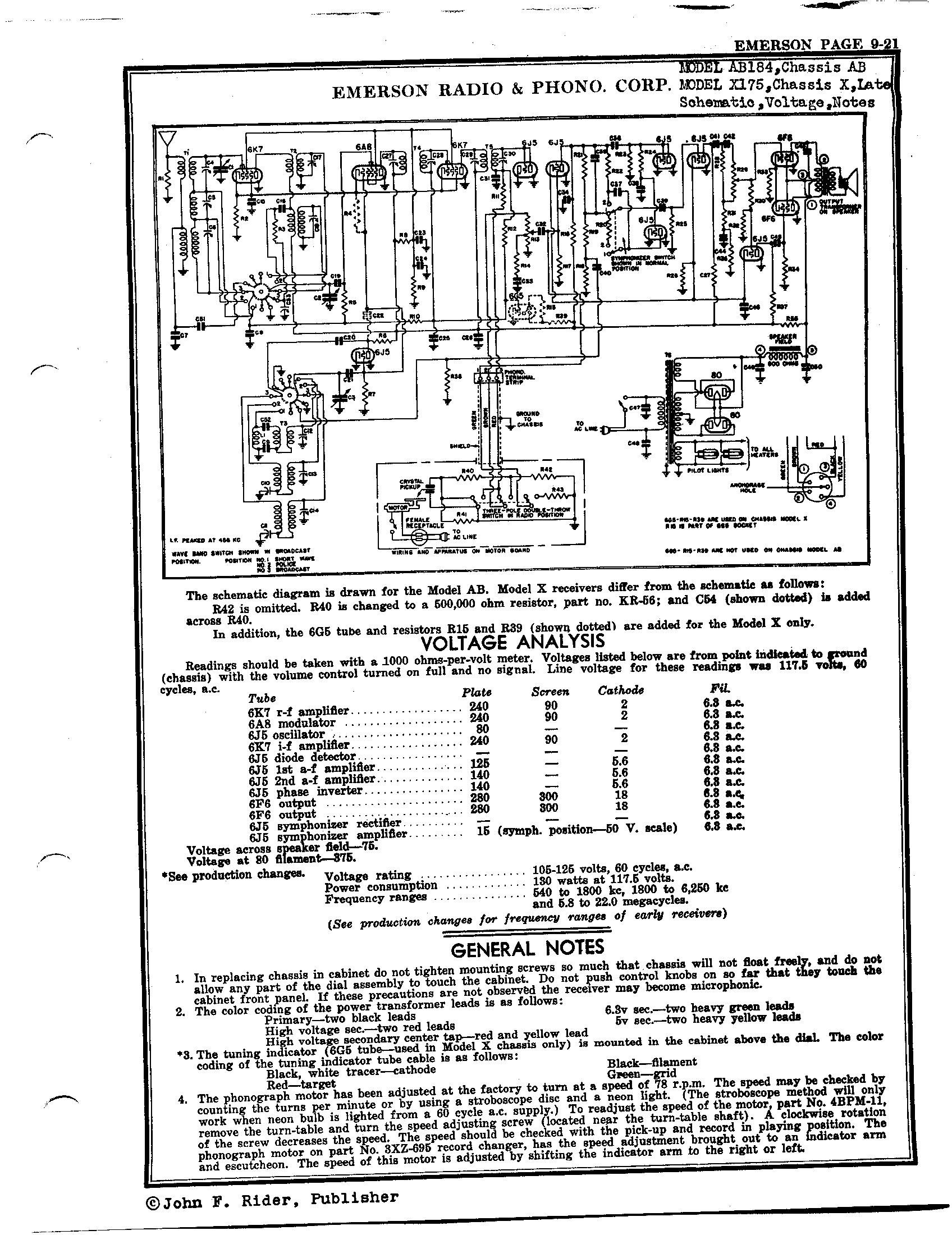 Emerson Radio Amp Phonograph Corp X175