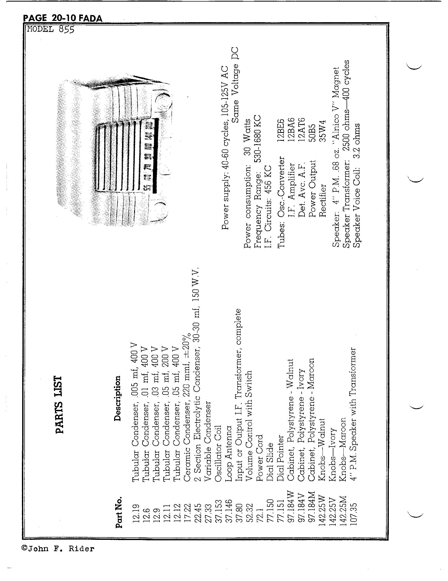 Fada Radio Amp Electric Co Inc 855