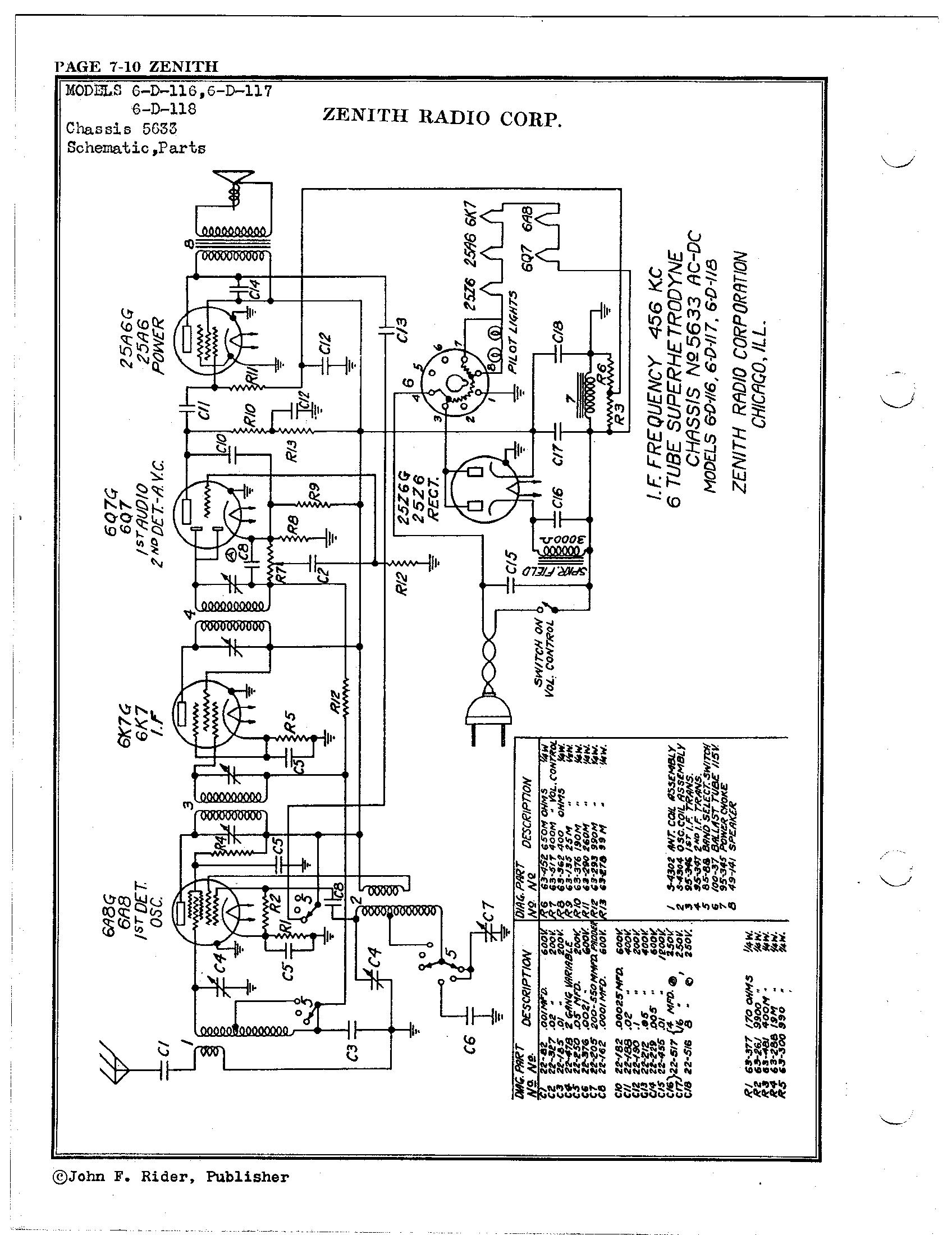 Zenith Radio Corp 6 D 117