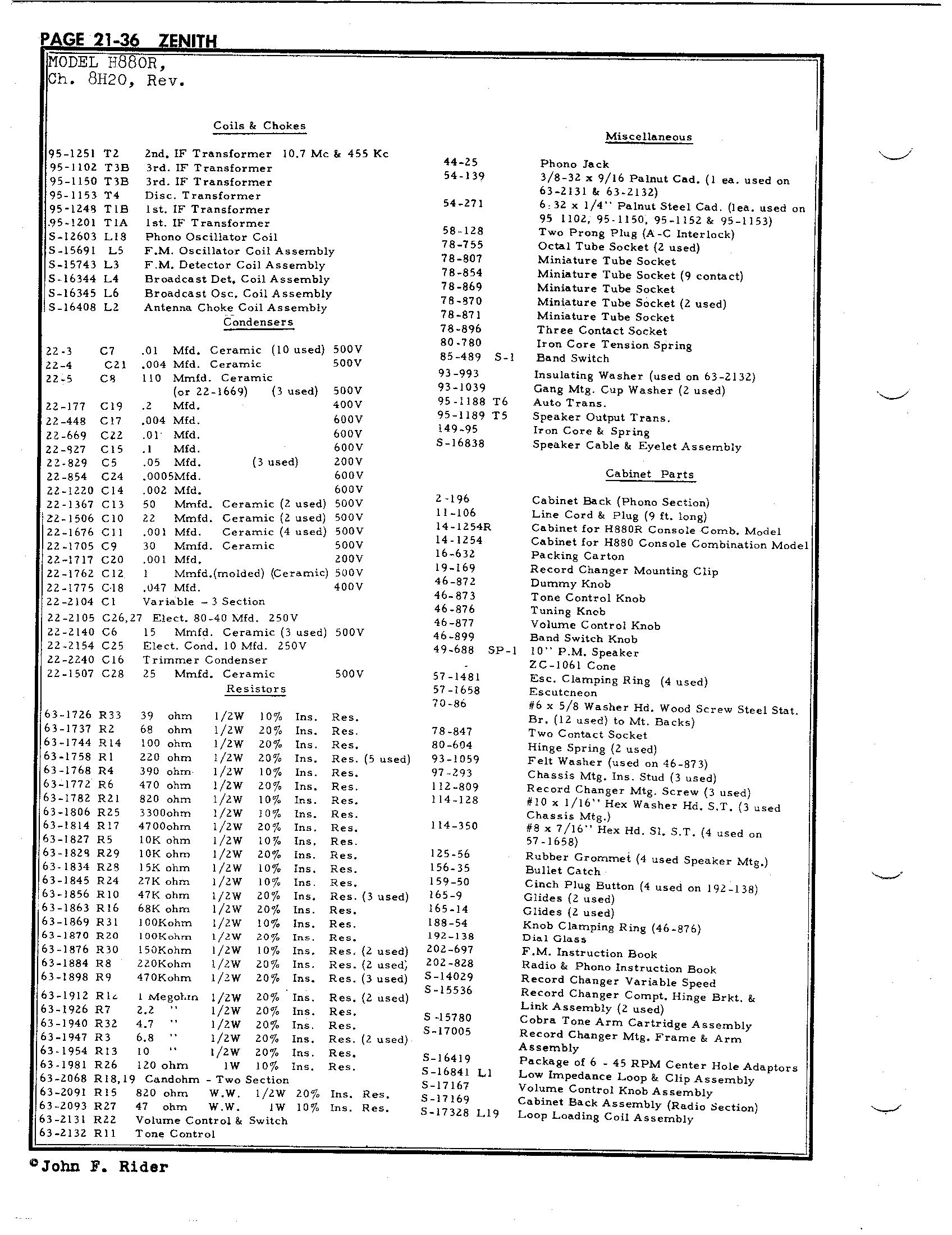 Zenith Radio Corp H880r