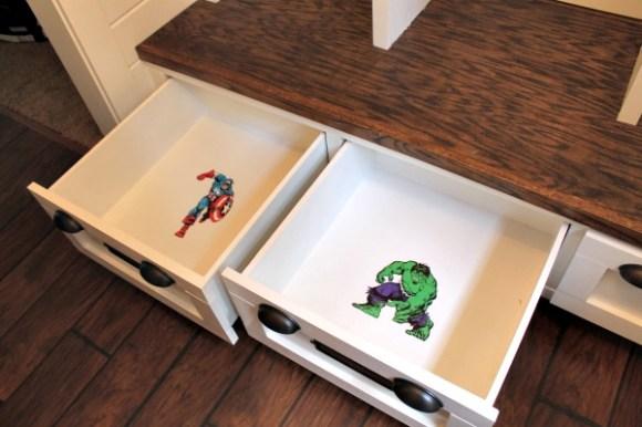 tuckinginsuperheroes.com mud room drawers