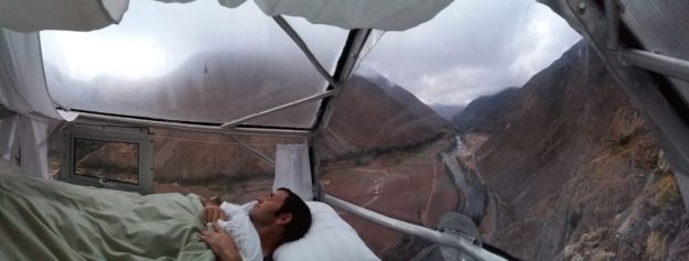 Sleeping on a cliff-face