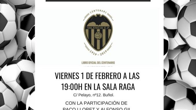 Cartel presentación libro Valencia CF Centenario en Buñol.
