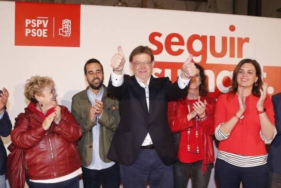 Ximo Puig celebra su victoria durante la noche electoral en las Elecciones Autonómicas del 28-A.