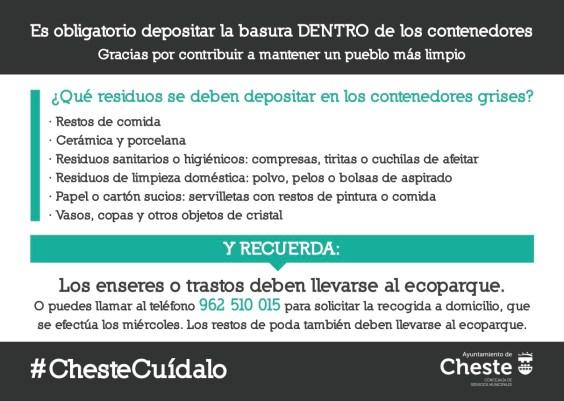 Dentro de la campaña #ChesteCuídalo, la concejalía de Servicios Municipales ha publicado un recordatorio con las normas de recogida de residuos urbanos en la localidad, con la finalidad de mantener las calles y los contenedores limpios.