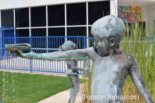 sculptures in the splash pad at Tucson Jewish Community Center