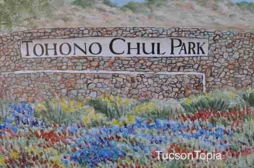 painting of Tohono Chul Park sign