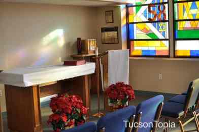 chapel with stained glass at Salpointe Catholic High School