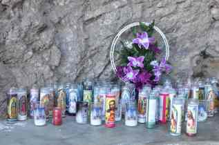 candles in the rock at Mission San Xavier del Bac