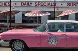 pink cadillac at Little Anthony's Diner