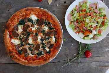 Lasagna Pie Pizza and Italian Chopped Salad at Sauce