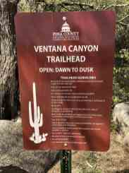 Ventana Canyon Trailhead sign