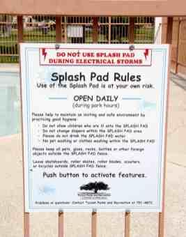 splash pad rules Catalina Park