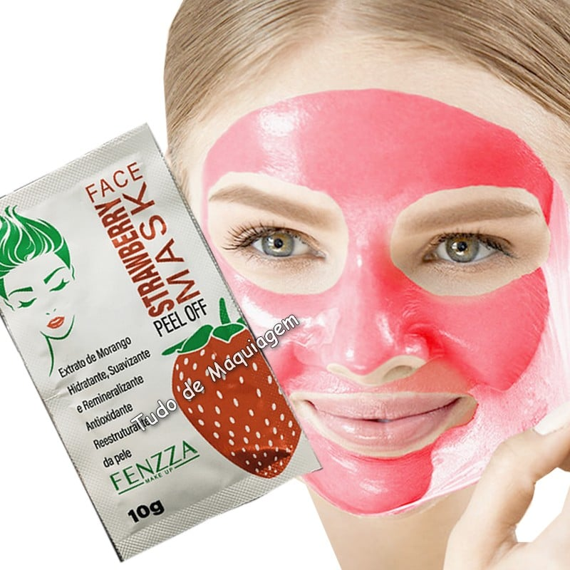 mascara facial strawberry mask da Fenzza na face
