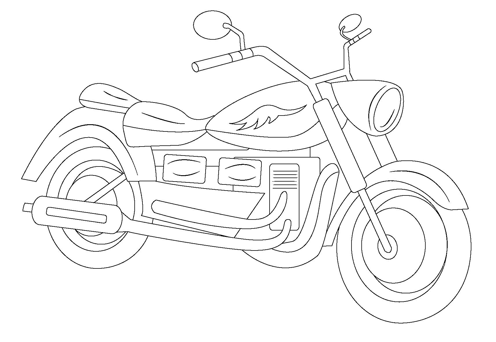 Desenho De Moto Bonita Para Colorir