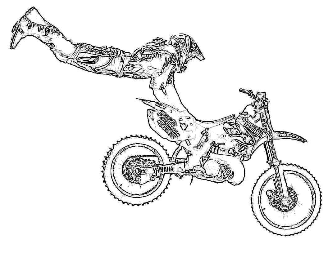Desenho De Manobra De Motoqueiro Na Moto Para Colorir