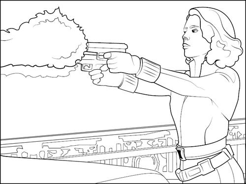 Desenho De Viva Negra Disparando Arma Para Colorir