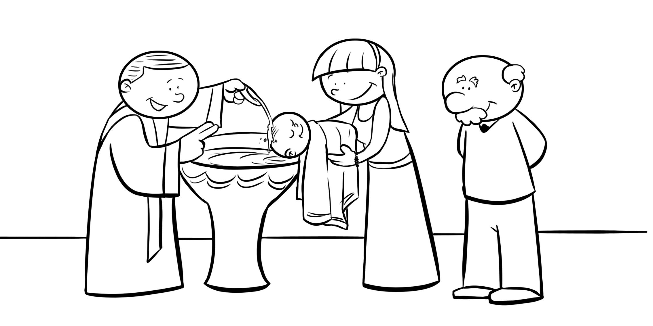 Desenho De Familia Batizando Bebe Para Colorir
