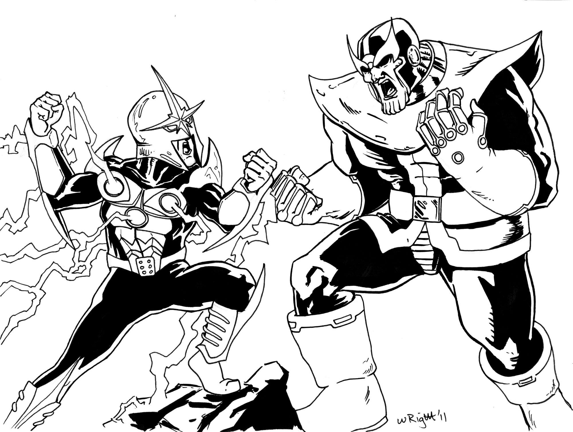 Desenho De Thanos Lutando Para Colorir Tudodesenhos