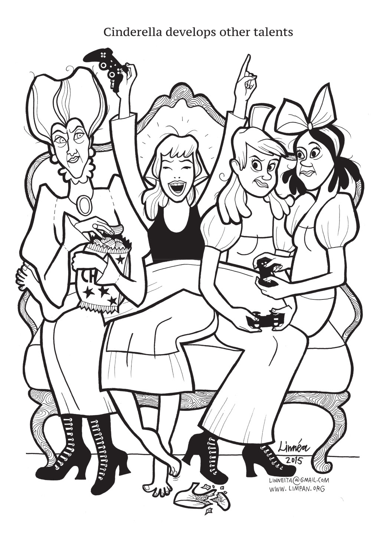 Desenho De Cinderela Jogando Videogame Para Colorir