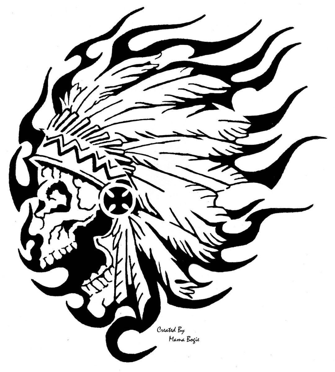 Desenho De Caveira Indigena Para Colorir