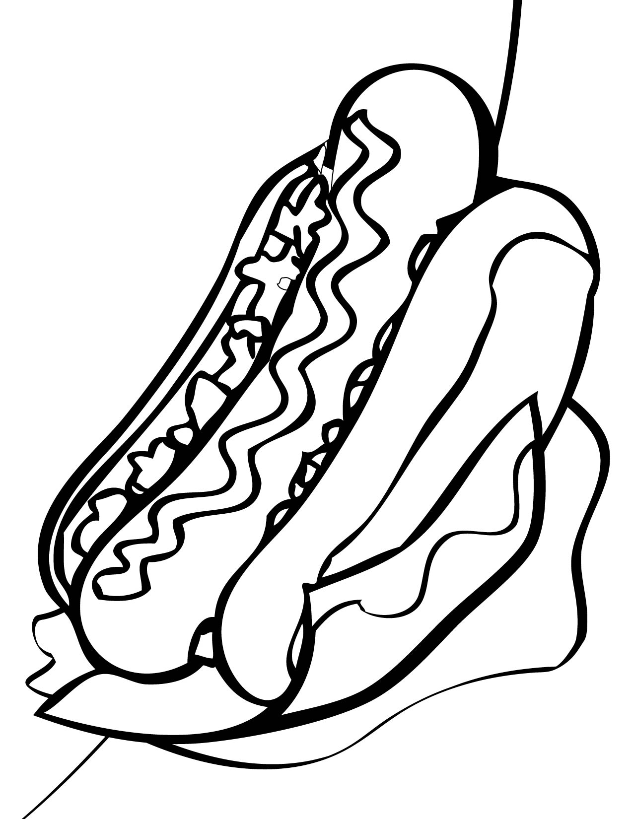 Desenho De Cachorro Quente Com Ketchup E Mostarda Para