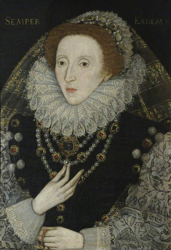 British (English) School; Elizabeth I (1533-1603); Queens' College, University of Cambridge; http://www.artuk.org/artworks/elizabeth-i-15331603-194553