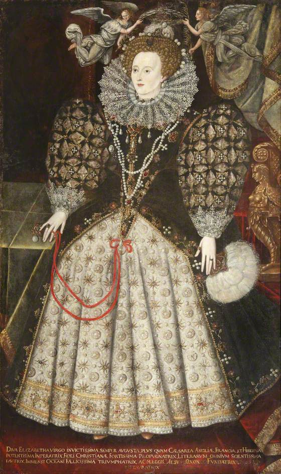 Hilliard, Nicholas; Elizabeth I (1533-1603); Jesus College, University of Oxford; http://www.artuk.org/artworks/elizabeth-i-15331603-222125