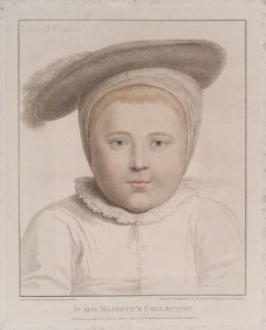 King Edward VI by Francesco Bartolozzi, published by John Chamberlaine, after Hans Holbein the Younger stipple engraving printed in colours, published 1 May 1797 12 3/8 in. x 10 in. (315 mm x 254 mm) plate size; 17 3/4 in. x 13 3/4 in. (450 mm x 349 mm) paper size Given by Sir Herbert Henry Raphael, 1st Bt, 1916 Reference Collection NPG D19757