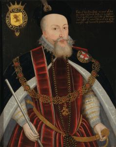 Robert Dudley, Earl of Leicester in the robes of the Order of the Garter by an unknown artist. @Yale Center for British Art