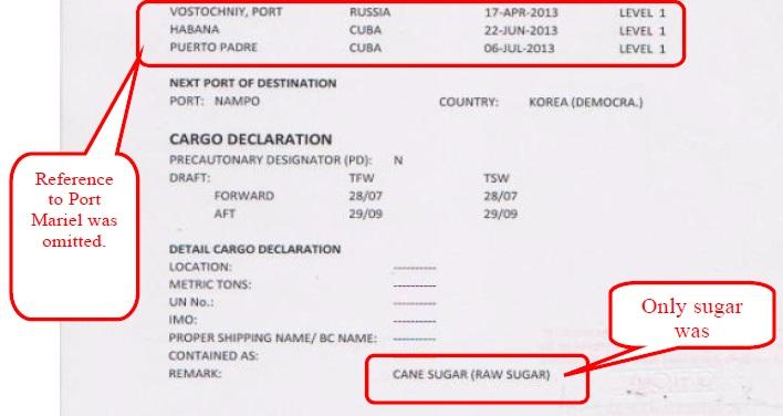 Referencia ao porto de Mariel foi omitida e afirmação que só haveria açúcar