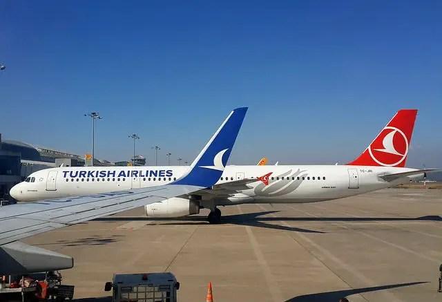 Flugzeug von Turkish Airlines steht an einem Flughafenparkplatz. Davor sind die Flügelspitzen eines anderen Flugzeugs zu sehen